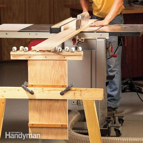 how to make a saw bench how to build an outfeed table the family handyman