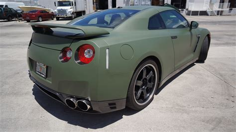 nissan green custom nissan gtr matte car wrap miami florida
