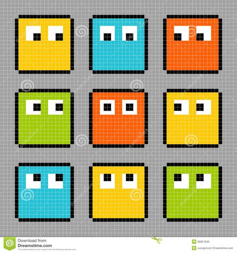 Blockers Characters 8 Bit Pixel Block Characters Looking In Different Directions Royalty Free Stock Photo Image