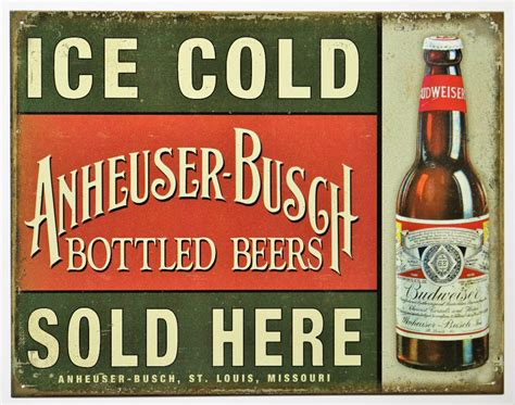 cold bud light here cold anheuser busch sold here tin metal sign