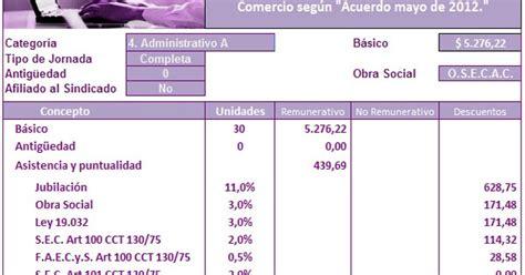 empleados de comercio liquidacin sueldo agosto 2013 empleados de comercio liquidaci 243 n de haberes mayo 2013