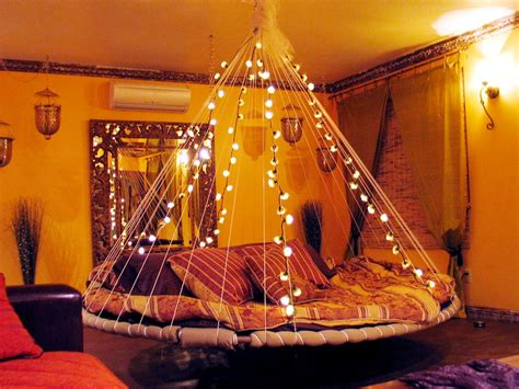hanging string lights in bedroom floating bed fairy lights interior design ideas