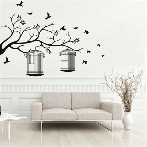 tree branches birdcage birds wall stickers living room