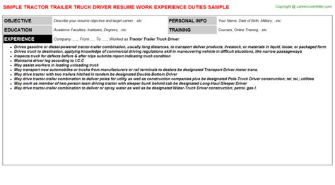 Sle Tractor Trailer Truck Driver Resume Tractor Trailer Truck Driver Title Docs