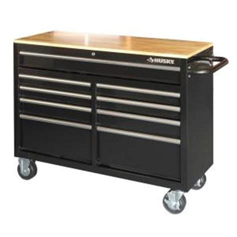 Husky 52 In 9 Drawer Mobile Workbench With Solid Wood Top by Home Depot Husky 46 In 9 Drawer Mobile Workbench With