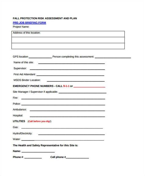 risk self assessment template 7 fall risk self assessment form sles free sle