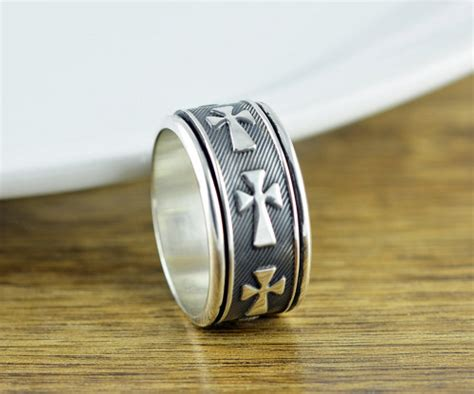 Cross Statement Ring sterling silver cross band ring cigar band ring mens