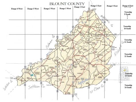 Blount County Alabama Records Township And Range Map With Towns Roads