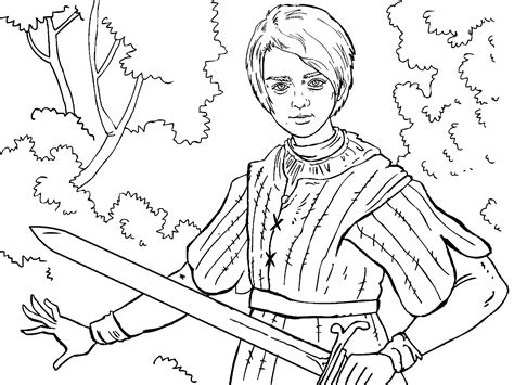 game of thrones colouring in page arya colouring in