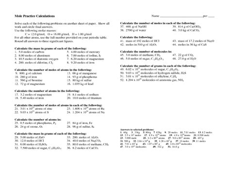 Mole Worksheet 1 Answers by Moles Molecules And Grams Worksheets Answer Key