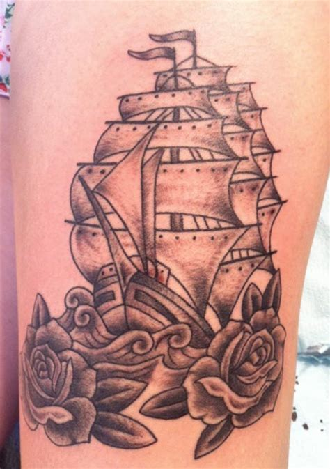 ship and rose tattoo portland blue ox