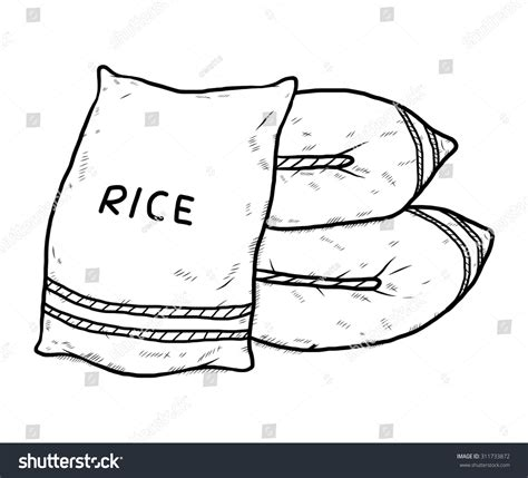 Rice Outline by Sac Rice Vector Illustration Black Stock Vector 311733872