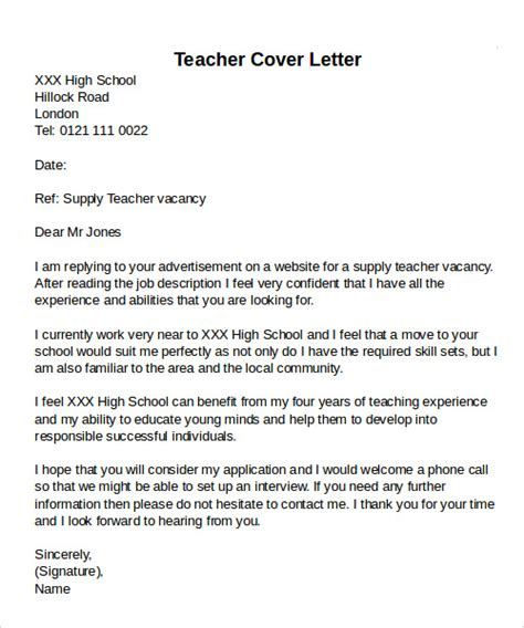 cover letter for a school sle cover letter exles 12 free documents