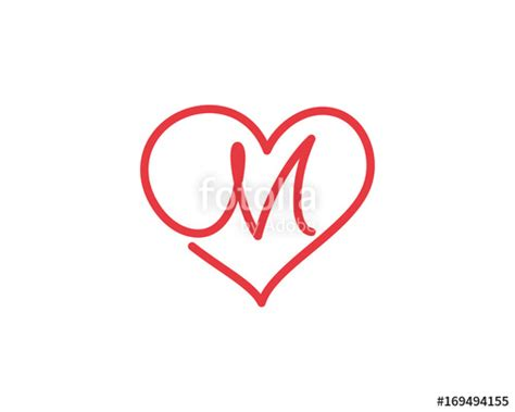 """Letter M and heart logo 1"" Immagini e vettoriali Royalty ... M Letter In Heart"