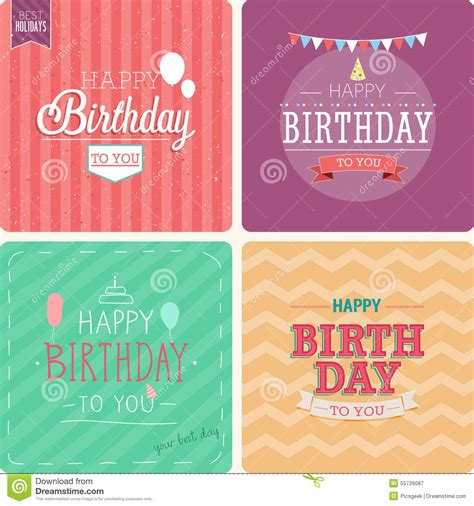 How Many Sts For A Birthday Card Vintage Card Happy Birthday Set Stock Vector Image