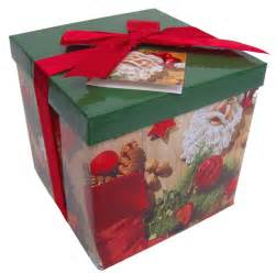 Folded gift box with lid and bow md red green trad xmas
