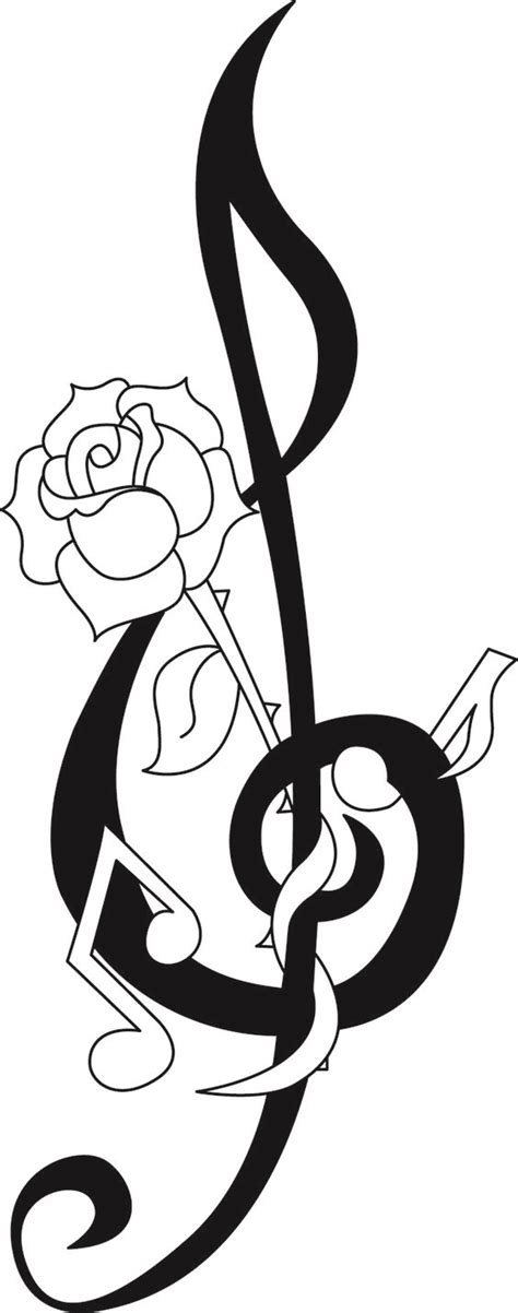 rose and music note tattoo design artworks