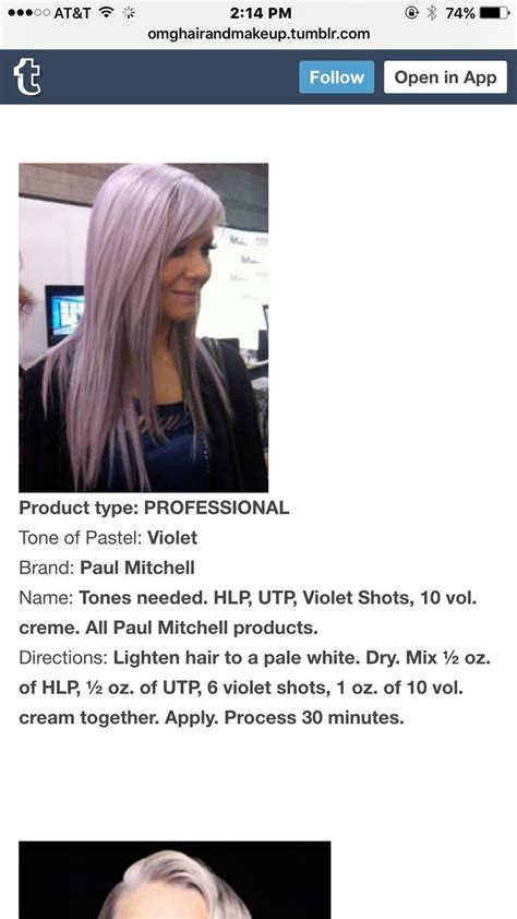 lavander hair formulas 256 best images about paul mitchell color formulas on