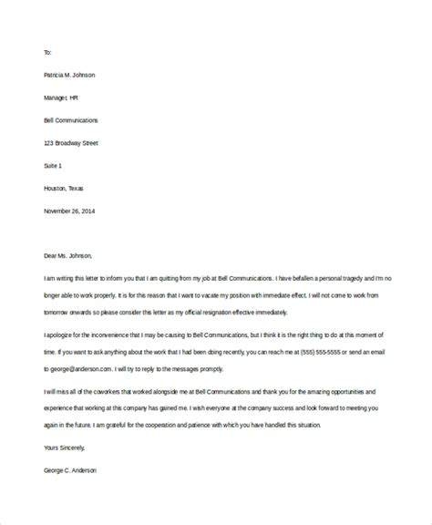 Resignation Letter For Immediate Leave 11 Resignation Letter Templates Free Sle Exle Format Free Premium Templates