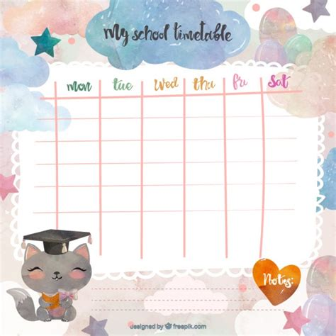 cute school timetable vector free download