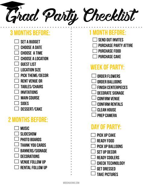 Pumpkin Food by Graduation Party Printable Checklist Mooshu Jenne
