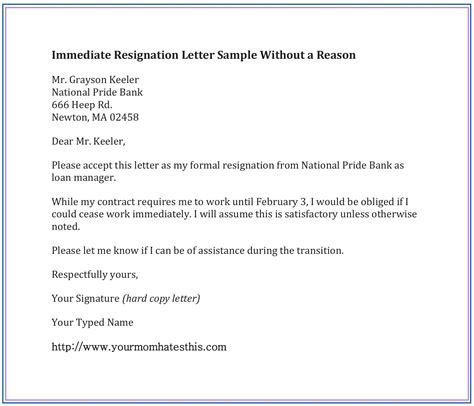 refrence sample resignation letter format download fresh resign