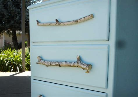 tree branches turned into diy drawer pulls for blue