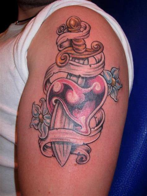 tattoo shoulder heart shoulder heart dagger tattoo by blue tattoo