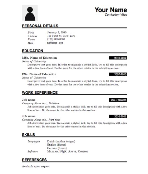 Curriculum Vitae Sle Format Word by Curriculum Vitae Template Search Resumes