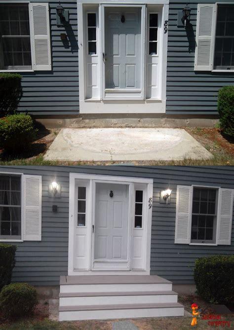 front door steps home deck remodeling front porch steps