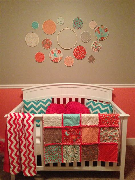 Nursery Quilt by Coral Turquoise Nursery Quilt And Decor Made From Moda Quot Flirt Quot Paint Is Sherwin Williams