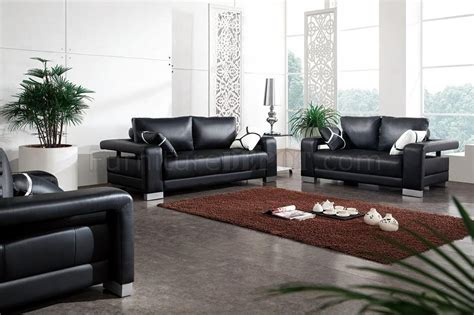 Black Leather Living Room Sets Black Leather Modern 3pc Living Room Set W Pillows
