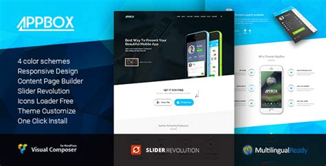 themeforest android appbox app landing app store wordpress theme by