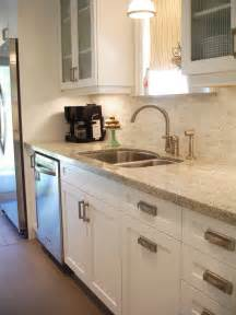 galley kitchen backsplash ideas kashmir white granite countertop design ideas