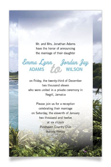 Reception Invitation Wording After A Private Wedding | reception invitation wording after private wedding