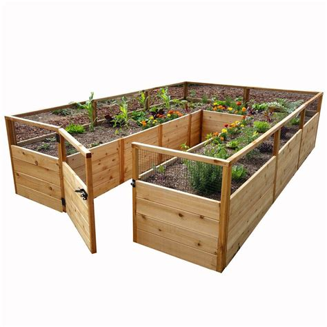 home depot garden bed greenes fence 4 ft x 8 ft x 14 in cedar raised garden