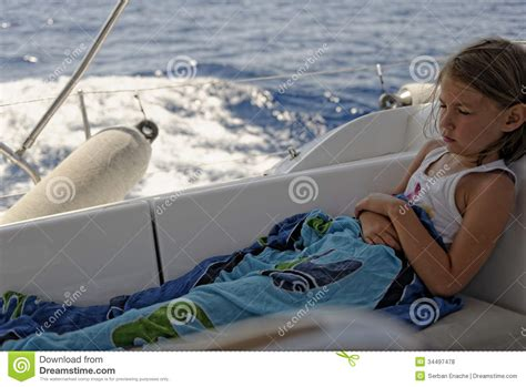 boat motion sickness seasick girl on sailing boat stock photo image of