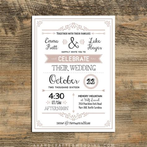 dusty rose printable diy wedding invitation template