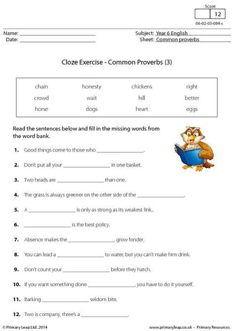 Classroom Practice Editing P5 primaryleap co uk cloze exercise common proverbs 3