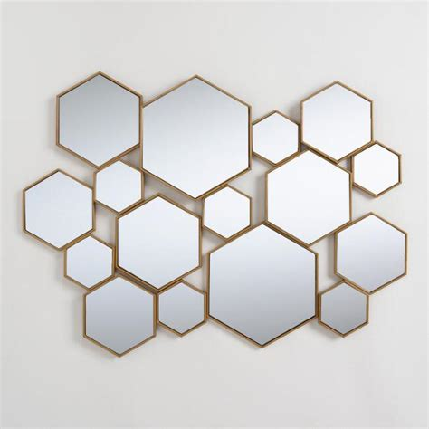 brass metal hexagon mirror panel world market