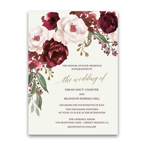 Fall Wedding Menu Burgundy Wine Gold Blush Floral Maroon Wedding Invitation Templates