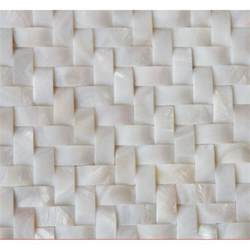 white of pearl arched tile backsplash herringbone
