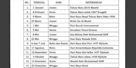 Sale Libur Idul Fitri 1 10 July 2016 ini daftar libur nasional dan cuti bersama 2016 idbeasiswa