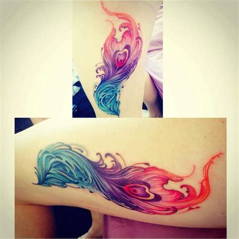 phoenix watercolor tattoo watercolour feather and shape on