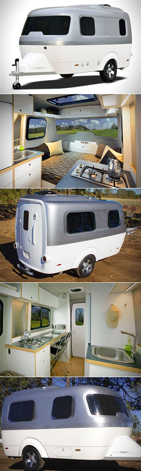 Airstream Nest Has a Kitchen, Work Area, Bed and is
