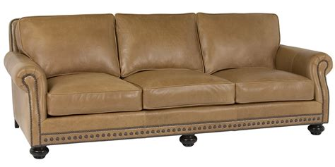 traditional style sofas leather pillow back sofa with rolled arms and nail trim