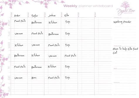 paper tree designs my family weekly planner whiteboard