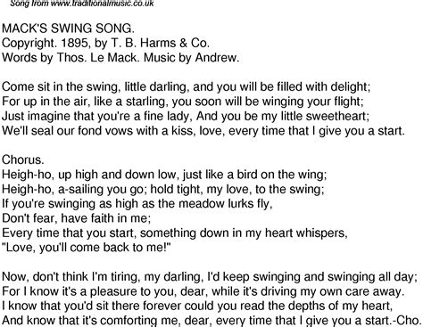 swinging song lyrics old time song lyrics for 49 macks swing song