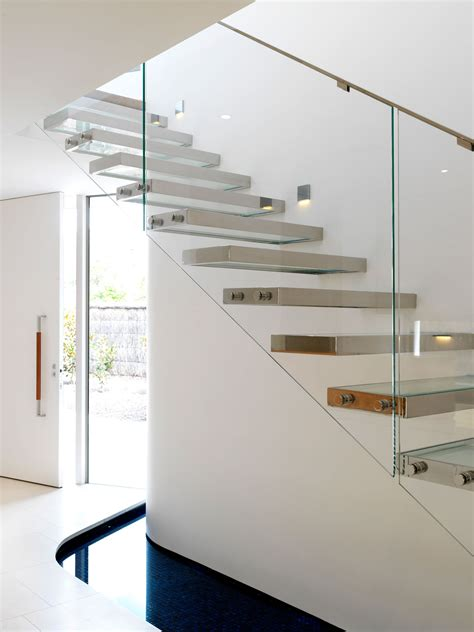 Modern Glass Stairs Design Interior Concrete Staircase With Wooden Steps And Glass Railing Panels Of Plus Concrete