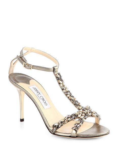 jimmy choo silver sandals jimmy choo tarot crystalcoated metallic leather tsrtal